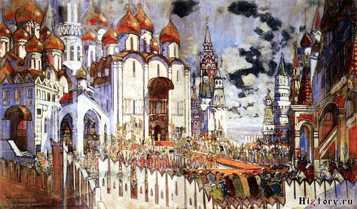 Коронация Бориса Годунова XVI век