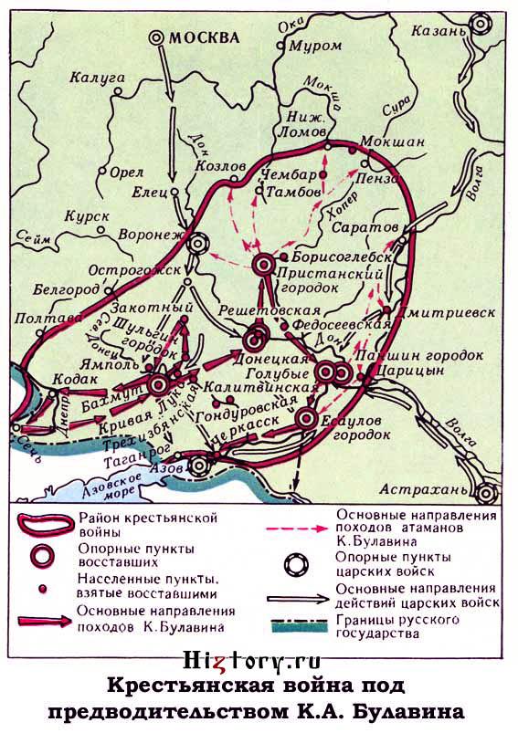 Карта булавинского восстания