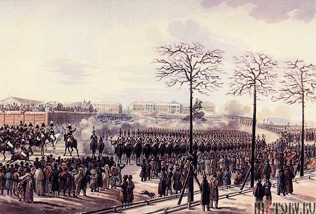 «Восстание декабристов на Сенатской площади. Автор: Кольман К.»