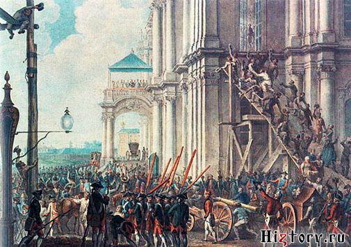 28 июня 1762. Екатерина II на балконе Зимнего дворца, приветствуемая гвардией и народом в день переворота. Акварель. Неизвестный художник.