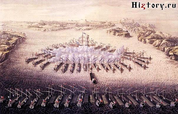 Гангутское сражение, гравюра Маврикия Бакуа из книги