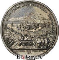 Медаль в память взятия Риги в 1710 г. Надпись по кругу: RIGA REDIT RVSSIS APTO CERTAMINE CASTRIS (Рига возвращается в число русских крепостей после искусной борьбы).