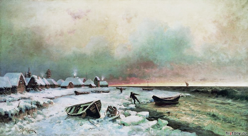 Деревня на острове Нарген. Ю.Ю. Клевер. 1881 г.