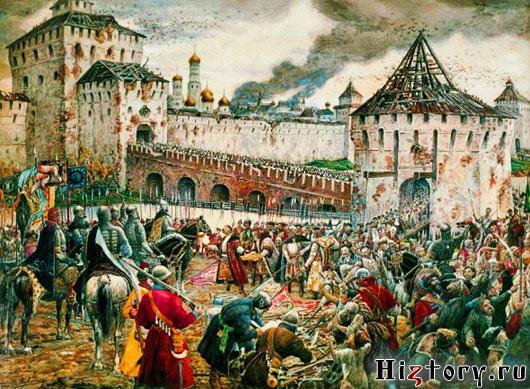 В октябре 1612 г., не выдержав голода, вражеский гарнизон сдал Кремль.