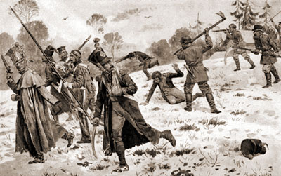 Русские партизаны атакуют отставших французских солдат