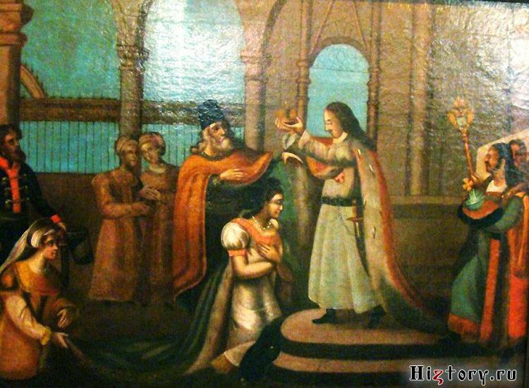 Неизвестный художник Пётр I коронует Екатерину. Егорьевский музей