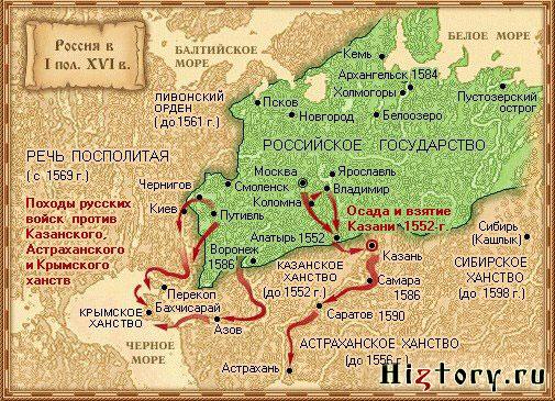Восточная политика Ивана Грозного (карта)