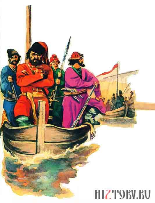 Казачьи струги плывут к берегам Персии Книжная иллюстрация