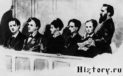 Слева направо: Н. Рысаков, Т. Михайлов, Г. Гельфман, Н. Кибальчич, С. Перовская, А. Желябов. Рисунок А. А. Насветевича.
