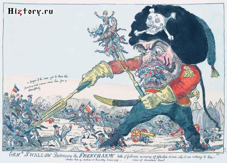 Британская карикатура Суворов пожирает французскую армию