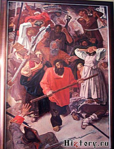 Картина «Восстание Ромодановских крестьян 1752 г.» из фондов Калужского областного краеведческого музея