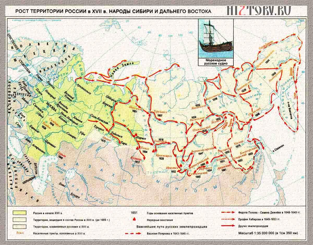 Территория России в 17 веке